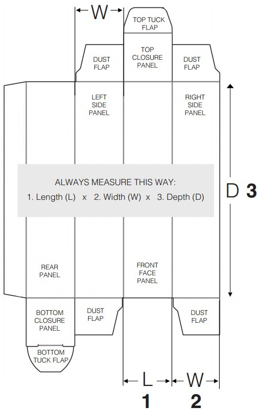 measure the box length width and depth