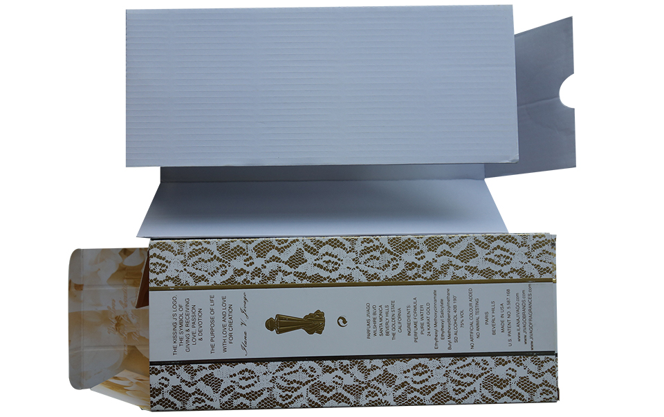 custom perfume paper box with corrugated paperboard insert