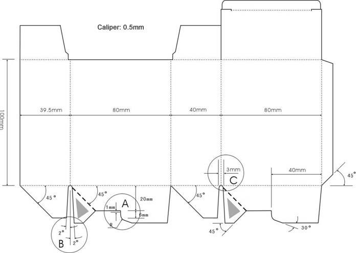 auto bottom box dieline
