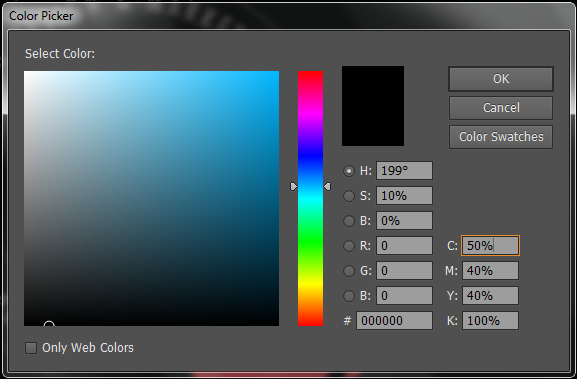 true black color CMYK value