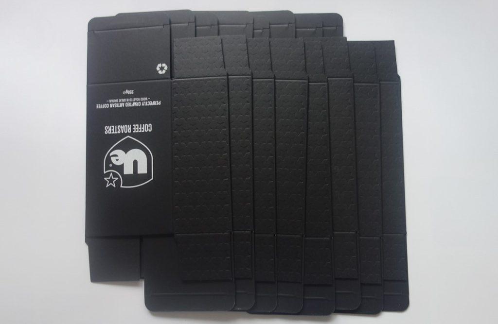 straight tuck end black paper box