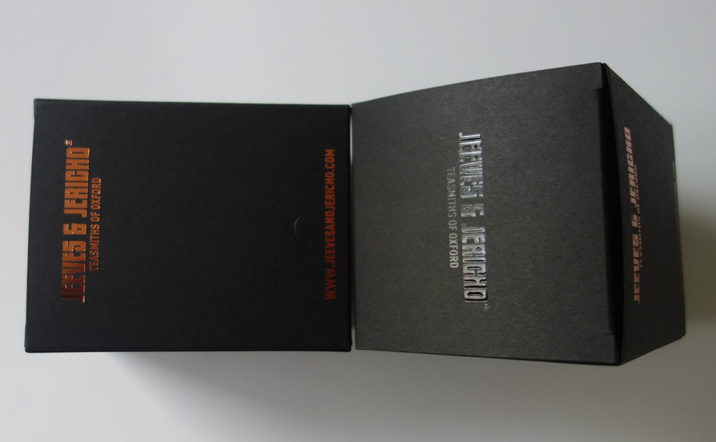 black paperboard box