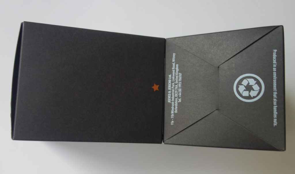 White color printing on the black paper box