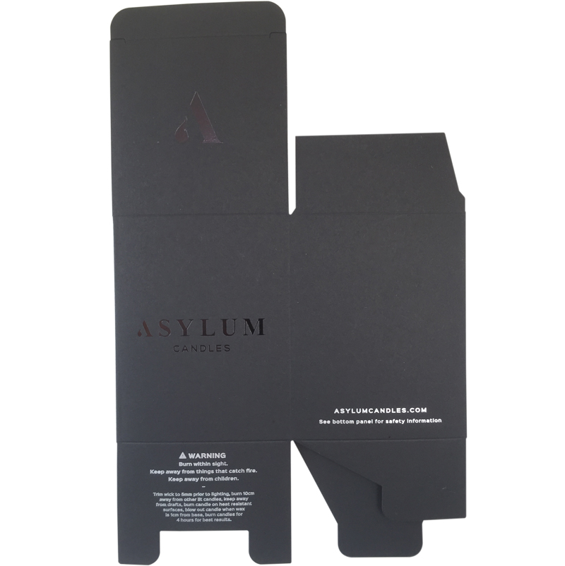 black paper printed box with silver foil and spot UV