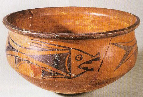 pottery bowl with decorated finish